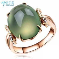18 K Rose Gold Natura Prehnite sur 9.16ct femmes anneau de mariage livraison gratuite envoyer certificat New Classic bijoux(China (Mainland))