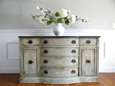 Hand Painted French Country Cottage Chic Shabby Romantic Vintage Distressed Grey Blue Sideboard Buffet Console Cabinet on Etsy, $750.00