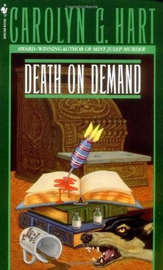 Book #1 in the Death on Demand Mystery series by Carolyn G. Hart  http://www.amazon.com/dp/055326351X/ref=cm_sw_r_pi_dp_60UFpb0SWFY0X