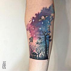 Starry night tattoo. Evening sky.