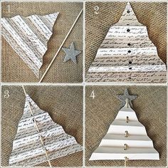 easy shabby christmas centerpiece with folded tree tutorial, crafts, seasonal holiday decor