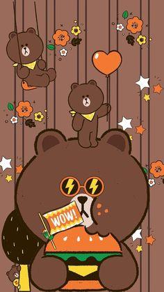 Lines Wallpaper, Bear Wallpaper, Wallpaper Iphone Cute, Pattern Wallpaper, Teddy Bear Cartoon, Chibi Cat, Kakao Friends, Brown Line, Friends Wallpaper