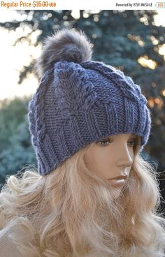 67f45f51cc6 10% SALE Knitted blue gray cap hat FUR POMPOM by DosiakStyle Slouchy Beanie