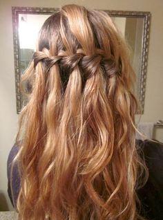 wedding hair ideas waterfall braided style
