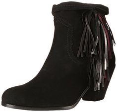 Sam Edelman Women's Louie Boot, Black Suede, 10 M US. Ankle boot featuring cascading multicolor fringe and western-inspired overlay with pinking trim. Wide zipper at instep. Roll-down cuff. Black Boots, Black Suede, Sam Edelman Boots, Comfortable Boots, Cool Boots, Trendy Shoes, Western Boots, Ankle Booties, Amazon