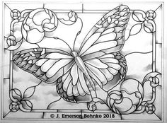 Monarch Butterfly. A pattern for stained glass. Pattern is a Black and White Digital Pdf file. Designed at 23 by 17 ( 58.42 cm by 43.18 cm ). File is available for download.