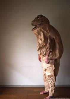 Paper Toad Costume from recycled materials & recyclable Cardboard, egg cartons, expandable packing paper, Japanese paper rice bags, thread, acrylic paint...