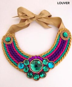 #moda#louvermarbella#collar#multicolor#cordon#complementos# Jewelry Knots, Diy Jewelry, Beaded Jewelry, Handmade Jewelry, Fashion Jewelry, Fabric Necklace, Diy Necklace, Necklace Designs, Necklaces