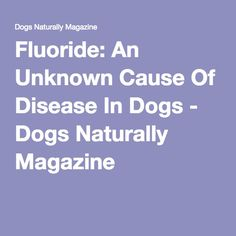 Fluoride: An Unknown Cause Of Disease In Dogs - Dogs Naturally Magazine