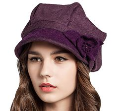 Supergirl Women s Wool Newsboy Cap Fashion Flower Beret Homborg Hat Blue at Amazon  Women s Clothing store  dce42a8df73d
