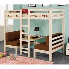 Idea for bunks in camper redo. Couches and table under. Bunks up top Loft Bunk Beds, Kids Bunk Beds, Loft Bed Dorm, Bunk Bed Ideas For Small Rooms, Dorm Room, Spare Room, Casa Kids, Cool Beds, Cool Rooms