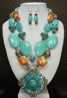 FIONA - Cowgirl Western Necklace Set / Statement Necklace / Southwest Jewelry / Chunky Western Jewelry / Chunky Gemstone Jewelry - See more at: http://www.buckaroobay.com/catalog.php?item=7893#sthash.8tbv7GYi.dpuf