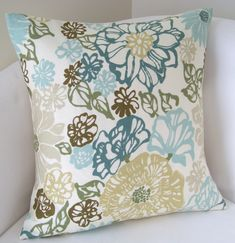 Floral Spa Blue Green Decorative Pillow Cover 18x18 Inch Throw Pillow Cushion Accent. $20.00, via Etsy.