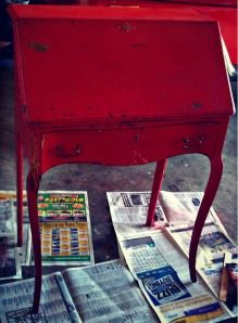 Now to Wow! Little Red Desk - Refinishing Furniture   http://thriftychicliving.com/2012/10/14/now-to-wow-little-red-desk/