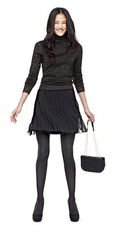 trend: monochrome - worthington turtleneck sweater allen b. pleated short skirt with tights