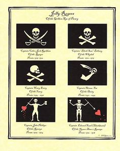 Historic Jolly Roger Pirate Flags Print Art Decor of The Caribbean Carribean | eBay