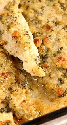 Baked Chicken Pesto 1 lb. chicken breast or tenders ½ cup Italian dressing 1 cup fresh basil leaves ⅓ cup sliver almonds ¼ cup grated Parmesan or Romano cheese Use food processor to combine pesto - pour over chicken.  Oven 375 - 25 min