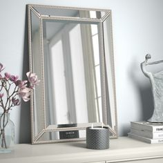 Beveled Beaded Accent Wall Mirror