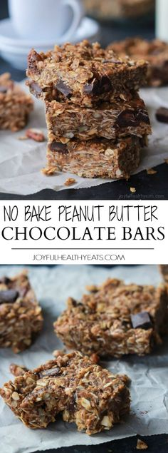 Breakfast never tasted so good with these No Bake Peanut Butter Chocolate Bars, done in 5 minutes! Filled with chocolate chunks, creamy peanut butter, chia seeds, and loads of other nutrients to fill (Chocolate Bars Wrapping) Healthy Granola Bars, Healthy Bars, Healthy Treats, Healthy Desserts, Delicious Desserts, Yummy Food, Healthy Food, Healthy Shakes, Healthy Breakfasts