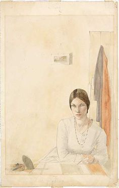 Winifred Knights, Self-portrait sketching at a table, c. 1916. Winifred Knights (1899-1947) runs June 8 - September 18 2016 at Dulwich Picture Gallery.