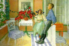syskon Carl Larsson köp oljemålning med trä ram från Sverige