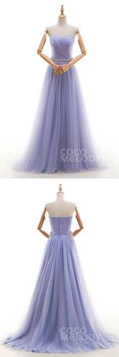 Dreamy A-Line Sweetheart Natural Court Train Tulle Blue Heron Sleeveless Zipper Evening Dress Beading Pleating COZT16002 #occasiondresses #a-linedresses #cocomelody #cusotmdresses  #sleevelessdresses