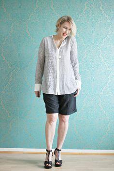 Seiden-Bluse mit Seiden-Shorts