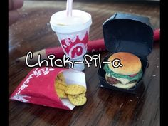 How to make doll food miniatures: Spicy chick-fil-a sandwich and waffle fries tutorial