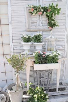 All my favorites.  Garden Table with Frame, Galvanized Containers
