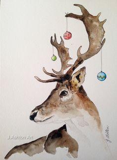 A bit dressed up Original watercolour deer painting by JAshtonArt