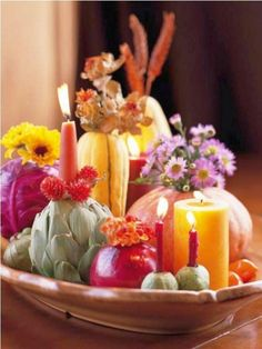 Thanksgiving Day Table centerpiece pumpkins and candles