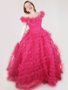60s Authentic Vintage Fuchsia Pink Tulle-Taffeta Mike Benet Ball Gown