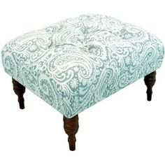 I want my $4 garage sale find to look like this!  Great material to reupholster!!!