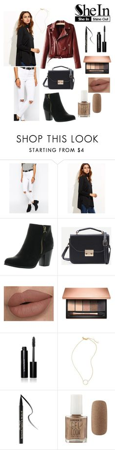 """""""SheIn Black Cut Out Asymmetrical Swing T-shirt outfit"""" by hunterscloset ❤ liked on Polyvore featuring ASOS, Reneeze, Clarins, Bobbi Brown Cosmetics, Madewell, Too Faced Cosmetics and Forever 21"""