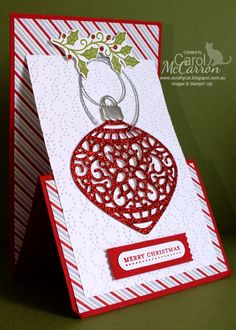 =A Crafty Cat: 2015 Christmas Stampin' Up! Z fold Easel card using the Delicate Ornament thinlits