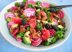 Grønkålssalat med grape Vegan Challenge, Vegan Curry, Vegan Meal Prep, Vegan Thanksgiving, Vegan Kitchen, Vegan Gluten Free, Healthy Dinner Recipes, Avocado, Healthy Eating