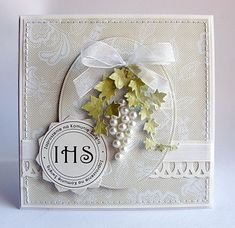 Dorota_mk--use of beads Wedding Cards Handmade, Beautiful Handmade Cards, Greeting Cards Handmade, First Communion Cards, Christian Cards, Communion Invitations, Marianne Design, Card Making Inspiration, Card Tags