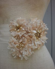 wedding sash bridal belt with three flowers RESERVED FOR MAGGIE. $75.00, via Etsy.