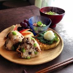 And tossed cattle Shigure boiled rice ball and set meal of edamame yam and okra plum bonito Japanese Dishes, Japanese Food, Asian Recipes, Healthy Recipes, Table D Hote, Food Places, Food Presentation, Food Plating, Food Inspiration