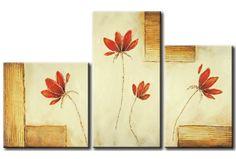 Modernes Gemälde Blumen und Quadrate  48493