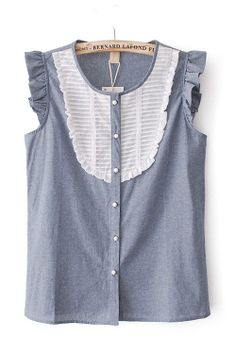 So CUTE! Love ruffles! Denim Color Ruffle Sleeve Cotton Ruffle Sleeves Button Front Blouse