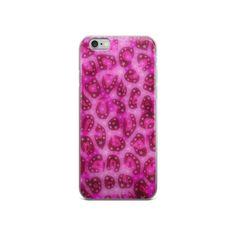 Glossy Pink Cheetah Stars iPhone case