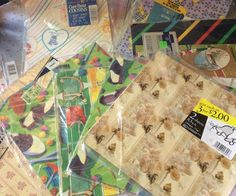 Mixed Wrapping Paper Lot New Old Stock Sports Teddy Bears Hearts Flowers Bananas #MixedBrands