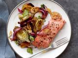 Salmon with baby artichokes