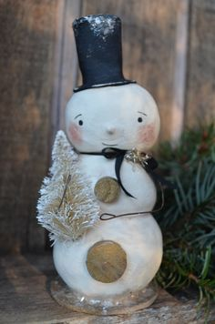 Christmas Snowman Folk Art Paperclay by apinchofprim on Etsy Christmas Snowman, Handmade Christmas, Vintage Christmas, Christmas Holidays, Christmas Crafts, Christmas Ideas, Xmas, Paper Magic, All Paper