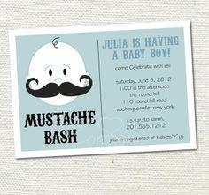 etsy mustache baby shower | MUSTACHE BASH Boy Baby Shower Invitation Printable diy ... | Baby Bass