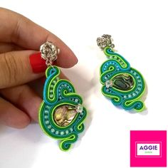 Zielone kolczyki sutasz ; Muszla paua abalone ;  Green soutache earrings