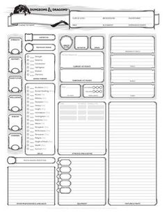 dungeons and dragons character sheet ed Get It Here Wizards of the Coast Rpg Character Sheet, Character Sheet Template, Character Creation, Pathfinder Character Sheet, Character Design, Dungeons And Dragons 5e, Dungeons And Dragons Characters, D D Characters, Dragon Classes