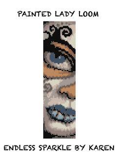 Painted Lady Loom Cuff Bracelet pattern by Endlessparklebykaren