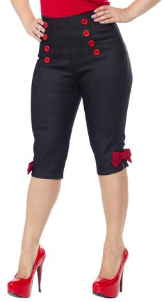 These Side Zip Bow Bermuda Capris from Pinky Pinups are the cutest! They have sailor style buttons on the front, cute little bows at the hem and a side zipper for easy wearability. Match them with your favorite pinup top and kitten hees for a classic look Rockabilly Looks, Rockabilly Outfits, Rockabilly Fashion, 1950s Fashion, Vintage Fashion, Plus Size Rockabilly, Pin Up Outfits, Fashion Outfits, Moda Pinup